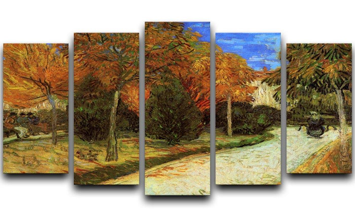 The Public Park at Arles by Van Gogh 5 Split Panel Canvas
