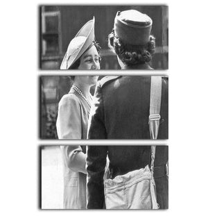 The Queen Mother inspecting WW2 service members 3 Split Panel Canvas Print - Canvas Art Rocks - 1