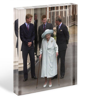 The Queen Mother on her 101st Birthday with family Acrylic Block - Canvas Art Rocks - 1