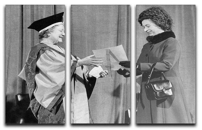 The Queen Mother receiving Honorary Doctorate by the Queen 3 Split Panel Canvas Print