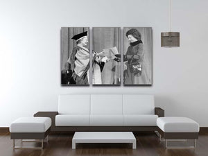 The Queen Mother receiving Honorary Doctorate by the Queen 3 Split Panel Canvas Print - Canvas Art Rocks - 3