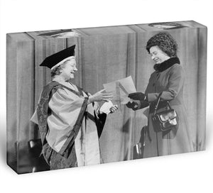 The Queen Mother receiving Honorary Doctorate by the Queen Acrylic Block - Canvas Art Rocks - 1