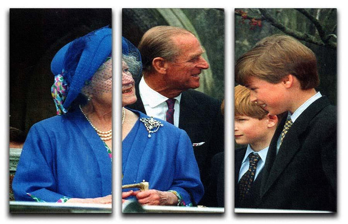 The Queen Mother with Prince William and Prince Harry 3 Split Panel Canvas Print