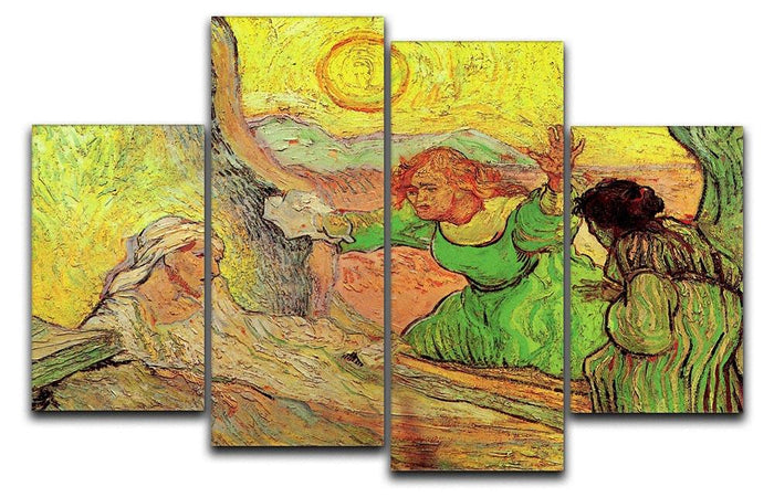The Raising of Lazarus after Rembrandt by Van Gogh 4 Split Panel Canvas