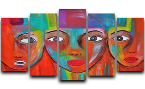 The Red Faces 5 Split Panel Canvas  - Canvas Art Rocks - 1
