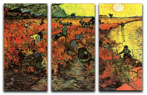 The Red Vineyard by Van Gogh 3 Split Panel Canvas Print - Canvas Art Rocks - 4