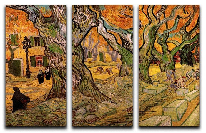 The Road Menders by Van Gogh 3 Split Panel Canvas Print