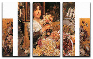 The Rose girls by Hassam 3 Split Panel Canvas Print - Canvas Art Rocks - 1