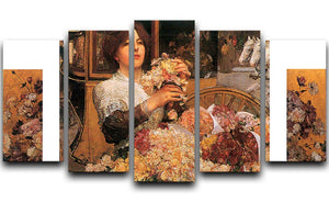 The Rose girls by Hassam 5 Split Panel Canvas - Canvas Art Rocks - 1