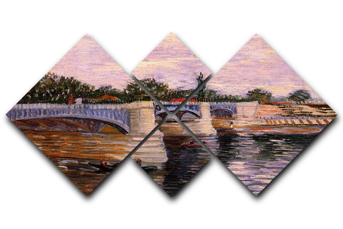 The Seine with the Pont del Grande Jette by Van Gogh 4 Square Multi Panel Canvas