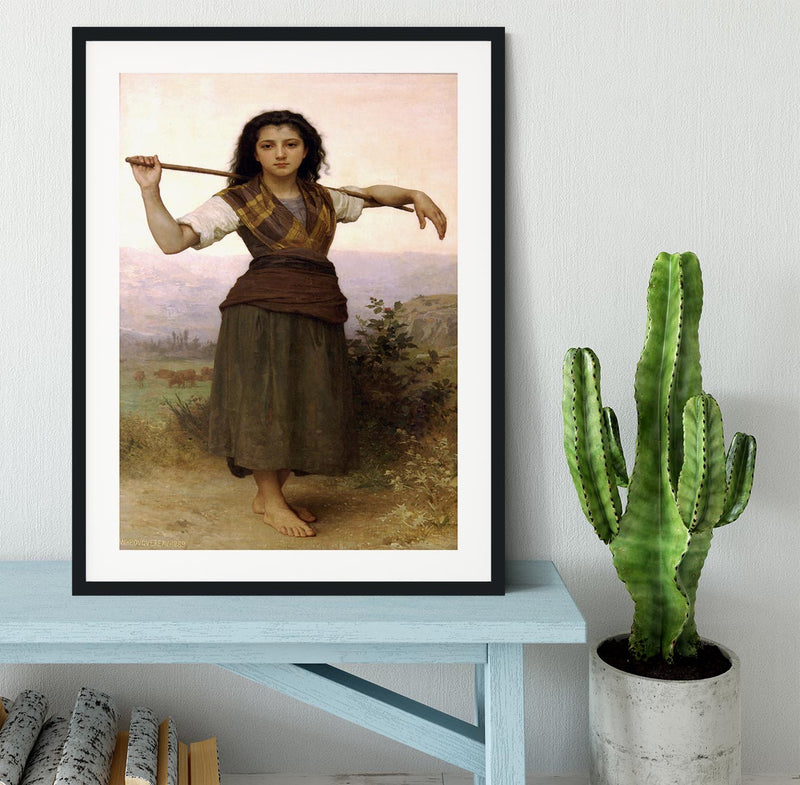 The Shepherdess By Bouguereau Framed Print - Canvas Art Rocks - 1