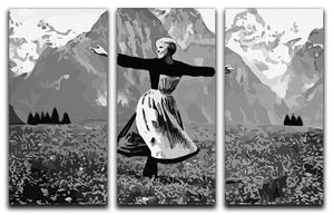 The Sound Of Music Black and White 3 Split Panel Canvas Print - Canvas Art Rocks - 4