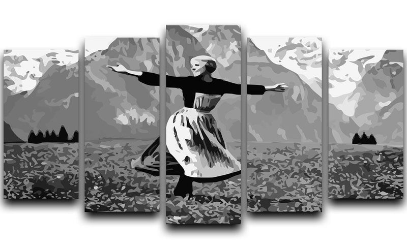 The Sound Of Music Black and White 5 Split Panel Canvas  - Canvas Art Rocks - 1
