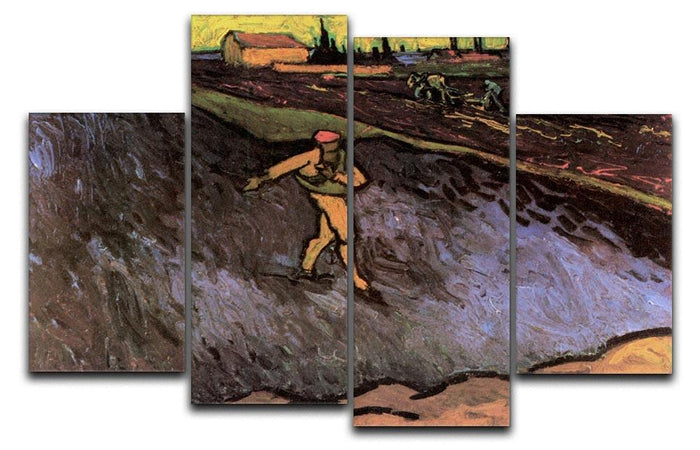 The Sower with the outskirts of Arles in the Background by Van Gogh 4 Split Panel Canvas