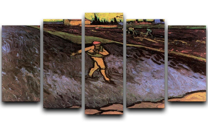 The Sower with the outskirts of Arles in the Background by Van Gogh 5 Split Panel Canvas