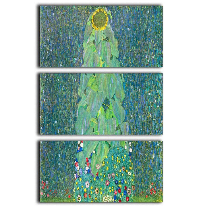 The Sunflower by Klimt 3 Split Panel Canvas Print