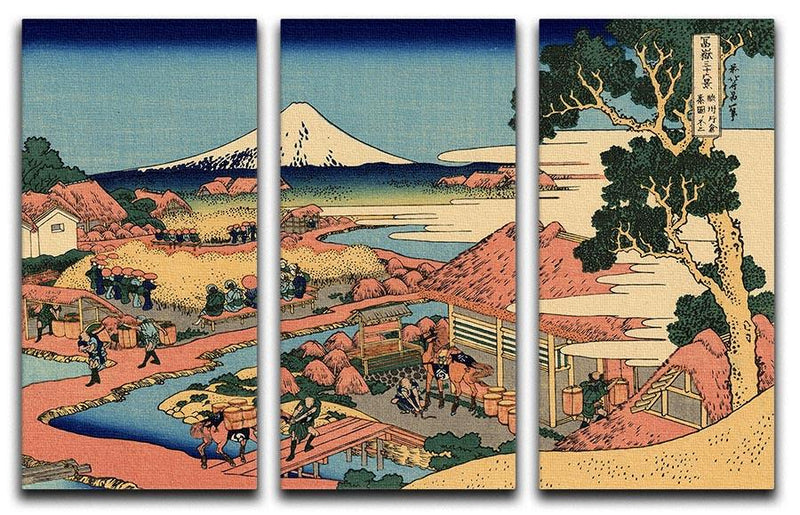 The Tea plantation by Hokusai 3 Split Panel Canvas Print - Canvas Art Rocks - 1