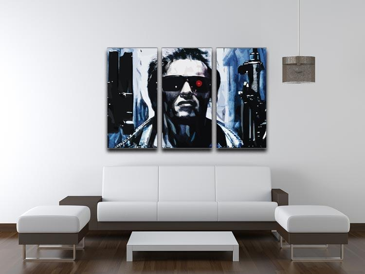 The Terminator Double Guns 3 Split Panel Canvas Print - Canvas Art Rocks - 3