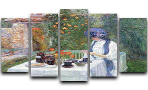 The Terre-Cuits Tea Set by Hassam 5 Split Panel Canvas - Canvas Art Rocks - 1