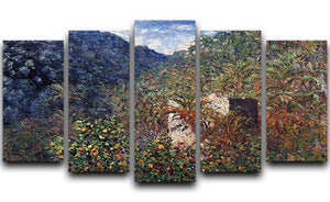 The Valley Sasso Bordighera by Monet 5 Split Panel Canvas  - Canvas Art Rocks - 1