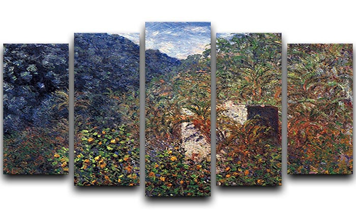 The Valley Sasso Bordighera by Monet 5 Split Panel Canvas