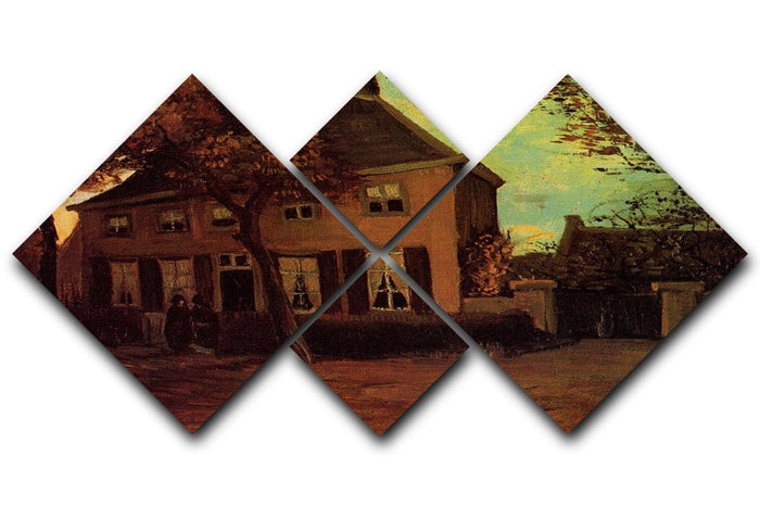 The Vicarage at Nuenen by Van Gogh 4 Square Multi Panel Canvas