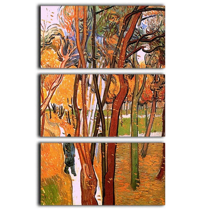 The Walk in Falling Leaves by Van Gogh 3 Split Panel Canvas Print