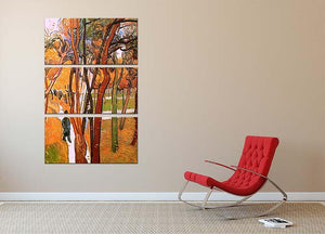 The Walk in Falling Leaves by Van Gogh 3 Split Panel Canvas Print - Canvas Art Rocks - 2