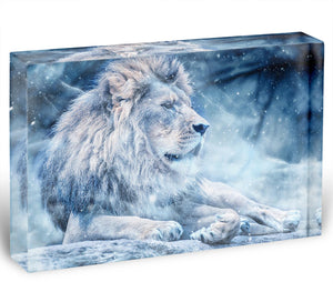 The White Lion Acrylic Block - Canvas Art Rocks - 1