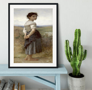 The Young Shepherdess By Bouguereau Framed Print - Canvas Art Rocks - 1