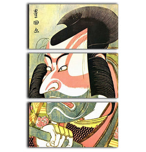The actor Ichikawa Ebizo by Hokusai 3 Split Panel Canvas Print - Canvas Art Rocks - 1