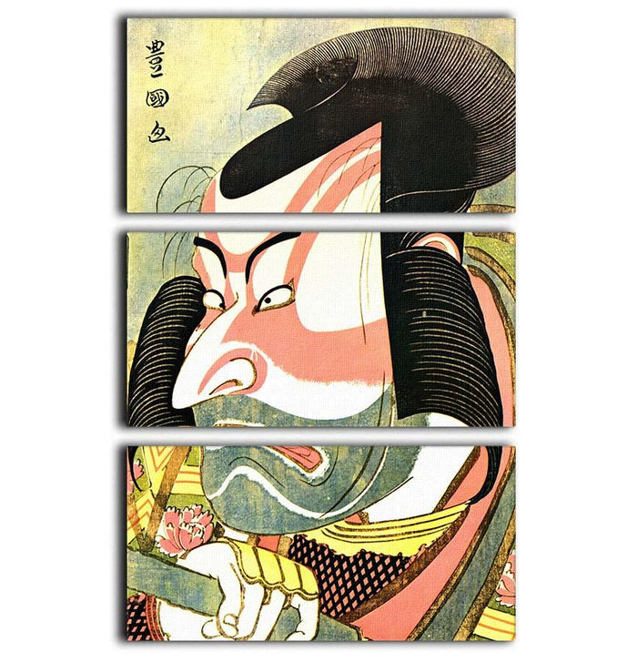 The actor Ichikawa Ebizo by Hokusai 3 Split Panel Canvas Print