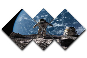 The astronaut on a background of a planet 4 Square Multi Panel Canvas  - Canvas Art Rocks - 1