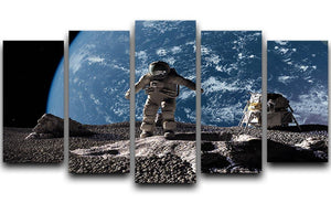 The astronaut on a background of a planet 5 Split Panel Canvas  - Canvas Art Rocks - 1