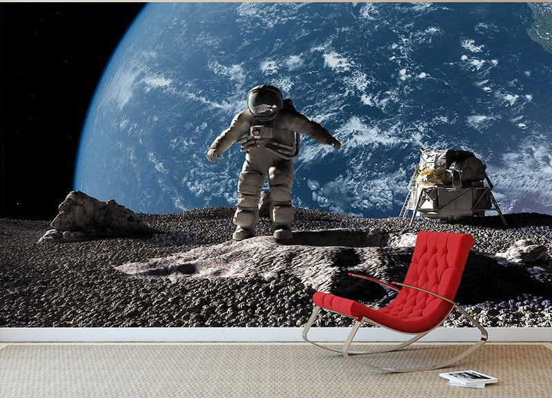 The astronaut on a background of a planet Wall Mural Wallpaper - Canvas Art Rocks - 1