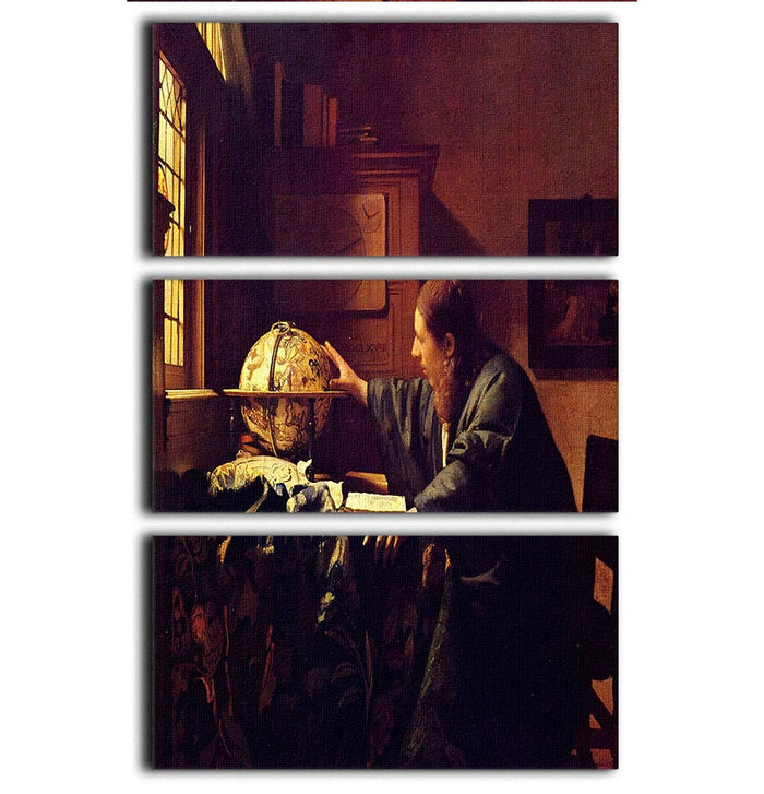 The astronomer by Vermeer 3 Split Panel Canvas Print