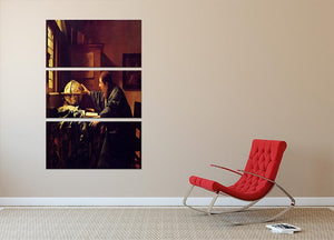 The astronomer by Vermeer 3 Split Panel Canvas Print - Canvas Art Rocks - 2