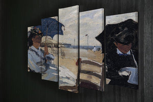 The beach a Trouville by Monet 5 Split Panel Canvas - Canvas Art Rocks - 2