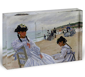 The beach at Trouville by Monet Acrylic Block - Canvas Art Rocks - 1