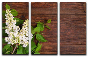 The beautiful lilac on a wooden background 3 Split Panel Canvas Print - Canvas Art Rocks - 1