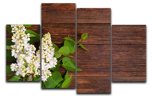 The beautiful lilac on a wooden background 4 Split Panel Canvas  - Canvas Art Rocks - 1