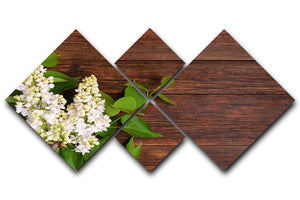 The beautiful lilac on a wooden background 4 Square Multi Panel Canvas  - Canvas Art Rocks - 1