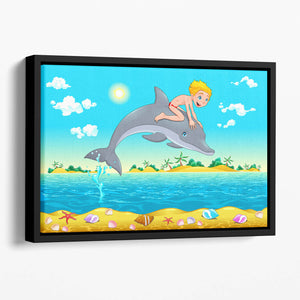 The boy and the dolphin Floating Framed Canvas