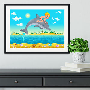 The boy and the dolphin Framed Print - Canvas Art Rocks - 1