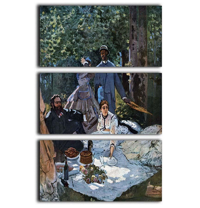 The breakfast outdoors central section by Monet 3 Split Panel Canvas Print