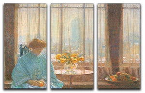 The breakfast room winter morning by Hassam 3 Split Panel Canvas Print - Canvas Art Rocks - 1