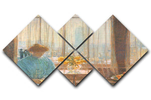 The breakfast room winter morning by Hassam 4 Square Multi Panel Canvas - Canvas Art Rocks - 1