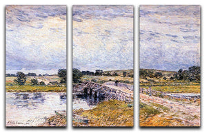 The bridge from Old Lyme by Hassam 3 Split Panel Canvas Print - Canvas Art Rocks - 1