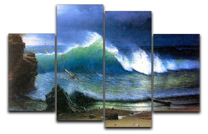 The coast of the Turquoise sea by Bierstadt 4 Split Panel Canvas - Canvas Art Rocks - 1