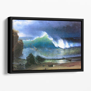 The coast of the Turquoise sea by Bierstadt Floating Framed Canvas - Canvas Art Rocks - 1